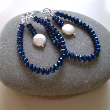 Spectacular Metallic Blue Rondelle Beads & White Coin Pearl Accent Bead Earrings, Dangle Earrings, Christmas Gifts, Coin Pearl Earrings