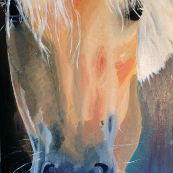 Oil painting of a palomino horse