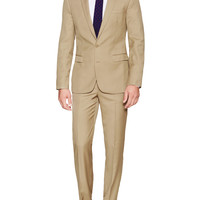 Aspetto Men's Wool Solid Suit - Beige/Khaki -