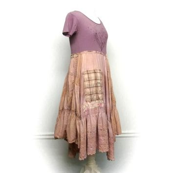 Shabby Chic Dress, Romantic Ruffle Dress, Tea Stained Dress, Artsy Dress, Tattered Dress, Sustainable Clothing, Upcycled Clothing