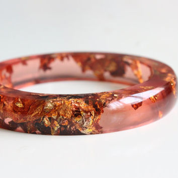 Resin Bangle Carnelian - resin smooth bangle with copper flakes inside