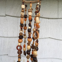 Wood Bead Mobile, Beaded Wind Chimes, Hanging Garden Art, Porch Patio Decor, Recycled Jewelry Art, Rustic, Boho, Home Decor Accent, Gift
