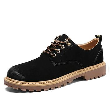 Winter Genuine Leather Casual Men Shoes Oxfords Thick Sole Vintage Classic Male Platform Footwear Men black