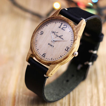 Wooden watch, womens wrist watch, oak