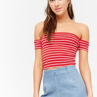 Stripe Off-the-Shoulder Crop Top