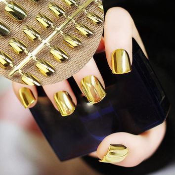 Sexy False Metallic Nails Tips Acrylic Mirror Shining Surface Gold 24pcs Short Design Hand Nails
