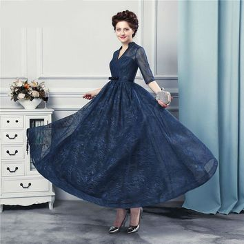 New Arrival Tea Length Prom Dresses Lace With Jacket Backless Navy Blue Prom Gown Half Sleeves