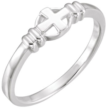 925 Sterling Silver Cross Circle Chastity Ring: Size: 4
