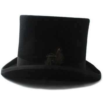 100% Wool Black Women Men Steampunk Top Hat With Feather Mad Hatter Victorian Church Fedoras Hat Gentleman Performing cap 17CM