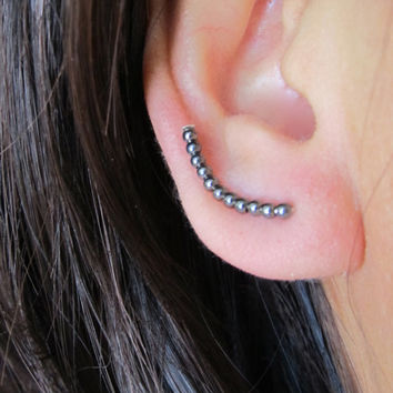 Black 925 Sterling Silver Curved Ear Pins -  Modern Minimalist ear Crawlers (M), Ear Climbers, Gothic Ear Cuffs, Simple Everyday Earrings