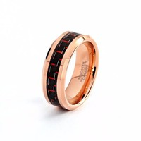 Male Rose Gold Ring Tungsten Carbide Red Carbon Fiber 8mm 18k High Polished Mens Carbon Fiber Ring Man Anniversary Engagement Promise