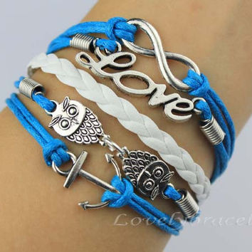 Infinity, love, the owl and the anchor charm bracelets, leather braided bracelet personalization, the gift of friendship