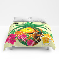 Pineapple Tropical Sunset, Palm Tree and Flowers Comforters by bluedarkatlem