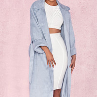 Clothing : Jackets : 'Kiti' Duck Egg Blue Suedette Trench Coat