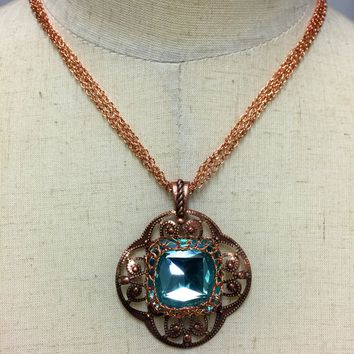 Teal Blue Swarovski Crystal Pendant Necklace 13