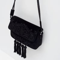 TASSEL EMBROIDERY LEATHER MESSENGER BAG