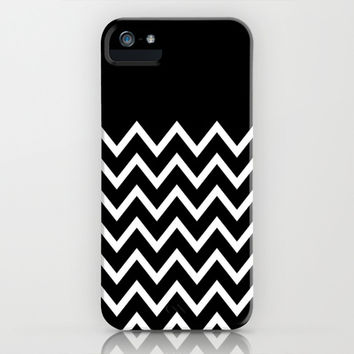 White Chevron On Black iPhone & iPod Case by Pencil Me In ™