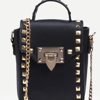 Studded Box Handbag With Chain