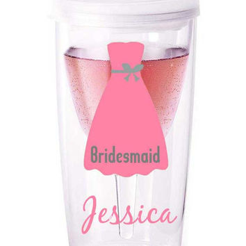 Personalized bridal party tumblers bridesmaid by tidbitsboutique