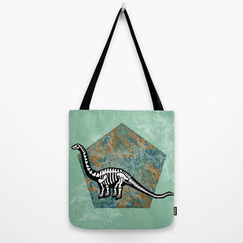 Brachiosaurus Fossil Tote Bag by chobopop | Society6