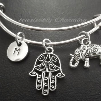 Hamsa, elephant bracelet, Stainless Steel Expandable Bangle, monogram personalized item No.701