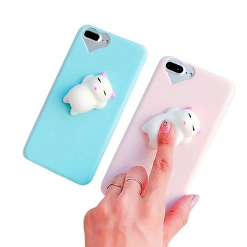2017 Hot selling Fashion Squishy 3D Animal Decompression Cat Panda Seal Knead Soft TPU Gel Case Cover For iPhone 7 Plus 5.5 inch