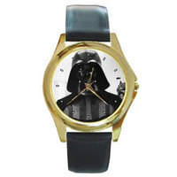 "Star Wars "" Darth Vader "" on a Mens or Womens Gold Tone Watch with Leather Band"