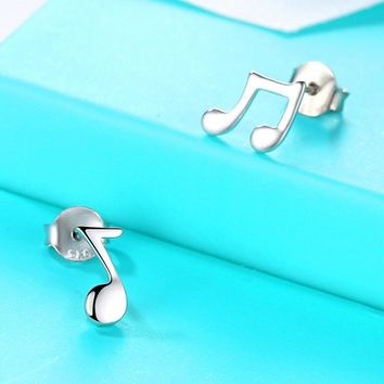 Bamos Tiny Music Stud Earrings Asymmetry Note Earrings 925 Sterling Silver Filled Pin Earrings For Women Minimalist Fine Jewelry