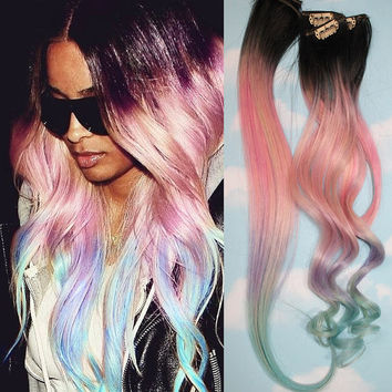 Light Pastel Dip Dyed Hair, UNICORN Clip In Hair Extensions Cotton candy Hair Wefts, Human Hair Extensions, Hippie hair, Pink Hair Weave