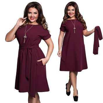 Big Size Plus Women's Summer Sashes Dress
