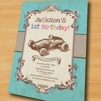Race Car Birthday Invitation for any age 1st 2nd 3rd 4th 5th 6 7 8  kids birthday invitation Vintage Retro Rustic - card 262