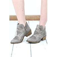 Not Rated: Nosara Distressed V-Cut Booties {Grey}