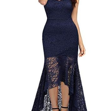 New Navy Blue Patchwork Lace Cut Out Zipper V-neck Cap Sleeve Homecoming Party Elegant Midi Dress