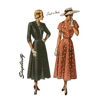 1940s Day Evening Dress Pattern Simplicity 2475 Bust 44 Womens Vintage Sewing Pattern Surplice Swing Dress UNCUT