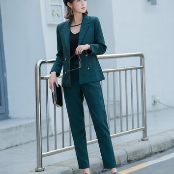Women 3 Colors Work Pant Suits Office Lady Uniform Jacket Blazer & Elastic Waist Ankle-Length Pant Femme Outfit Terno Feminino