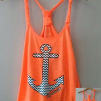 Bungee Tank W/ Elastic Bottom- Chevron Zigzag Anchor