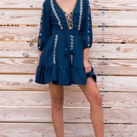 Navy Lace Up Embroidered Dress
