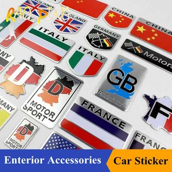 Raoping Car Motorbike Alloy Metal 3D Emblem Badge Racing Decals Sticker For Russia ITALY Italian United States France Map Flag