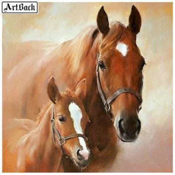 5D Diamond Painting Two Brown Horses kit