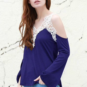 Sapphire Blue Cold Shoulder Lace Paneled Long Sleeve Blouse