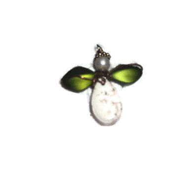 Angel Buffalo White Turquoise Howlite With Green Wire Wrapped Angel Ornaments Free Shippings