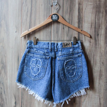 Lee Skull Embroidered Vintage Distressed High Waist Cut Off Denim Shorts