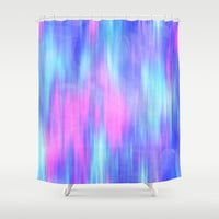 Aurora - Blur Abstract in Pink, Purple, Aqua & Royal Blue Shower Curtain by TigaTiga Artworks