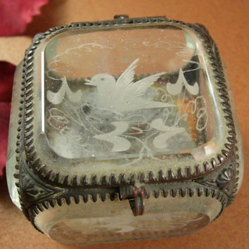 Antique Beveled Glass Jewelry Casket  // Etched Dove // Trinket Box // 1800s // from Successionary