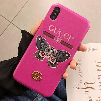 GUCCI Newest Trending Women Stylish Butterfly Pattern Hard Mobile Phone Cover Case For iphone 6 6s 6plus 6s-plus 7 7plus 8 8plus X XSMax XR Rose Red