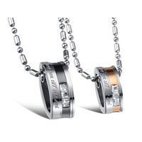 Love Stainless Steel Pendant, Pair Crystal Drill with Necklaces for couples
