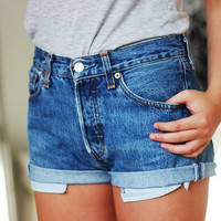 Levis High Waisted Cuffed Denim Boyfriend Shorts Dark Wash Jeans / xs s m l xl xxl