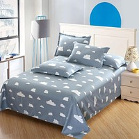 Gray white clouds 100%cotton flat sheet cartoon bedding twin full queen king size 3pcs bed sets stripe pillowcase bed sheet