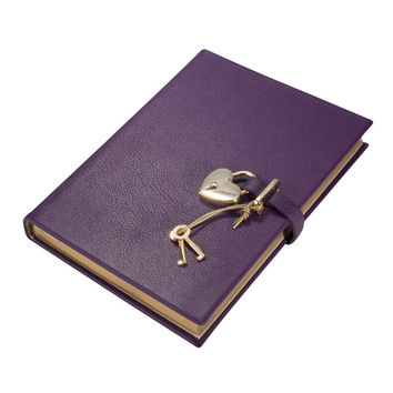 Heart Lock Diary Brights Leather | Purple