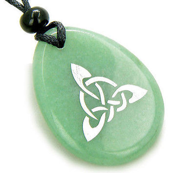Magic Celtic Triquetra Knot Amulet Aventurine Stone Necklace